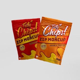 Due confezioni di alimenti realistici con chiusura a zip snack doppio e mockup di prodotti 3d di branding