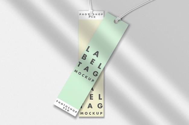 Due mockup di tag etichetta di moda