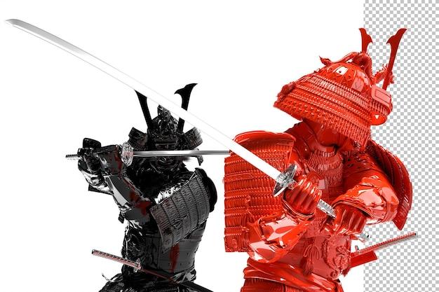 Due samurai in lotta. isolato su sfondo bianco. rendering 3d