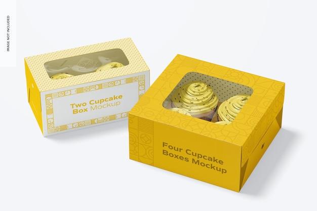 Due e quattro scatole di cupcakes mockup