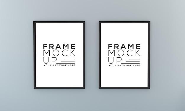 Mockup di due frame su un'opera d'arte di presentazione della parete grigia 3d rendering