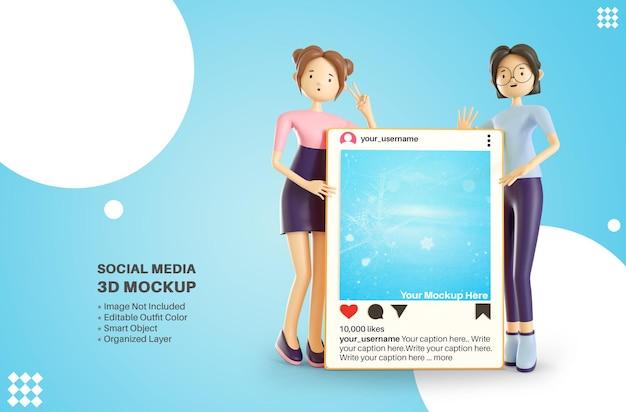 Un personaggio di due ragazze che tiene le app di instagram social media post 3d rendering cartoon mockup