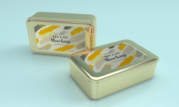 Due mockup di imballaggi in latta per alimenti in metallo quadrato dorato