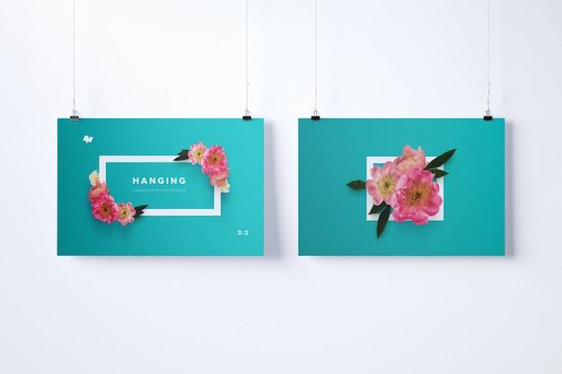 Mockup di due poster appesi