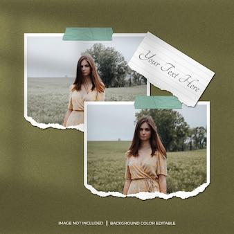 Due mockup di foto con cornice di carta strappata orizzontale con carta per appunti e ombra