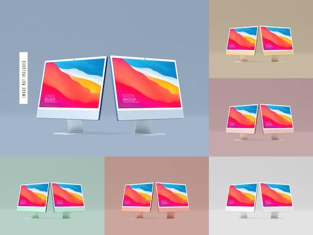 Due mockup di schermo desktop isolato
