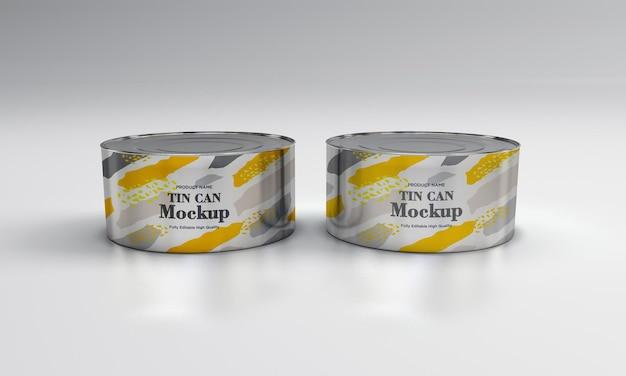Due mockup di imballaggi in latta per alimenti in metallo