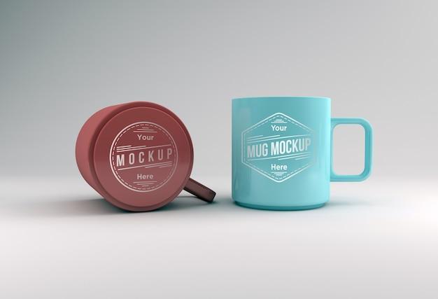 Due tazze mockup 3d rendering isolato