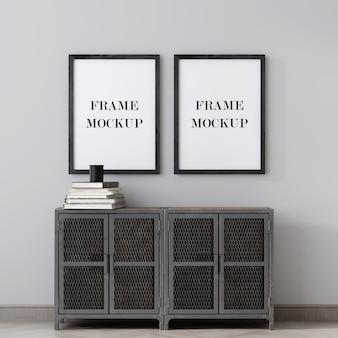 Due cornici sopra il cabinet in metallo rendering 3d mockup