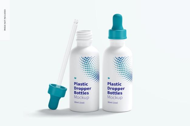 Due bottiglie di plastica contagocce mockup