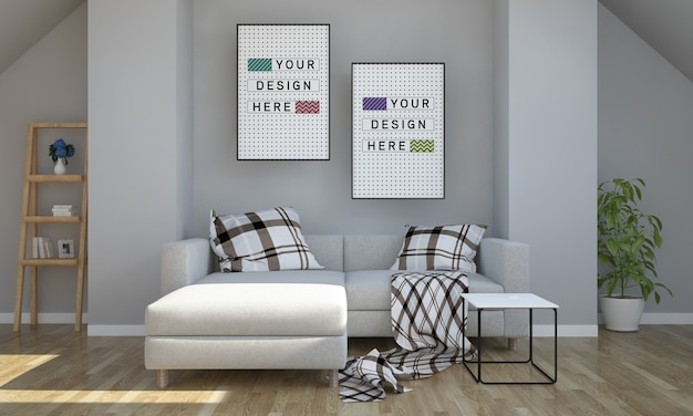 Due poster mockup sulla soffitta soggiorno rendering 3d
