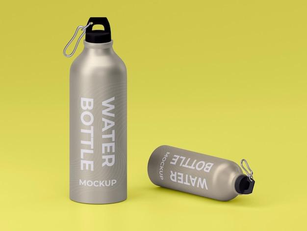 Due design di mockup modificabili per bottiglie d'acqua in metallo di alta qualità