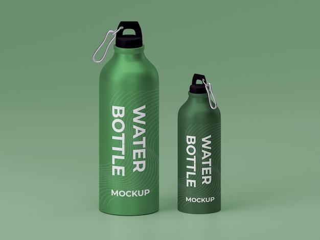 Due mockup di bottiglie d'acqua in metallo di alta qualità
