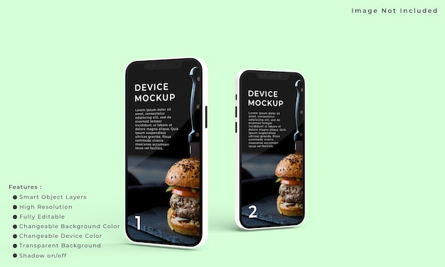 Due smartphone e mockup dello schermo per la presentazione dell'interfaccia dell'applicazione