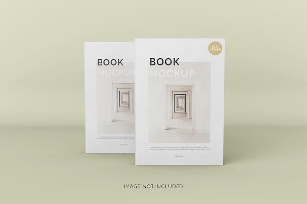 Vista frontale del mockup di due libri con copertina morbida