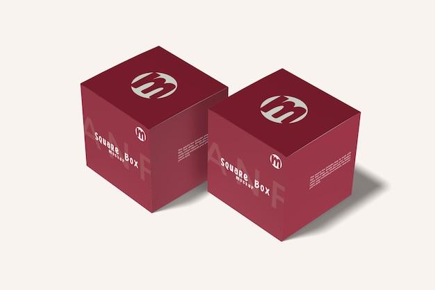 Due isolati di design mockup scatola quadrata