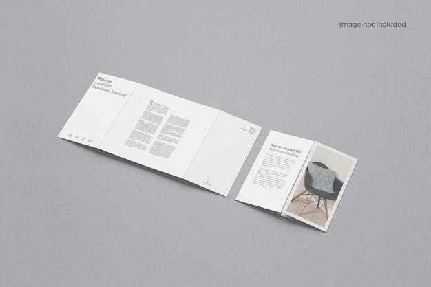 Brochure pieghevole a due cancelli quadrati mockup