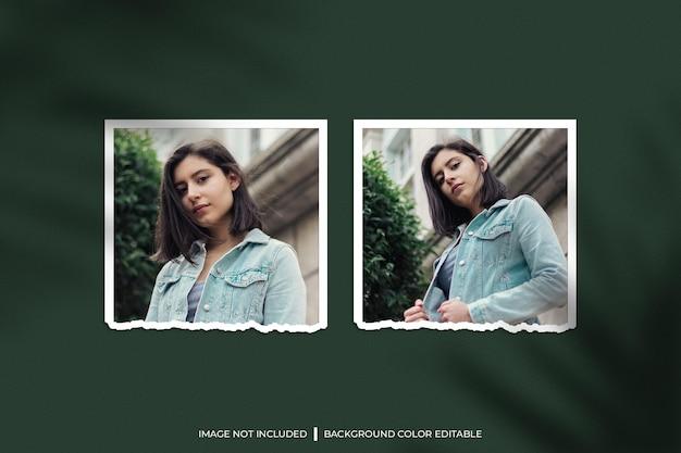 Mockup fotografico con due cornici di carta quadrate strappate con ombra