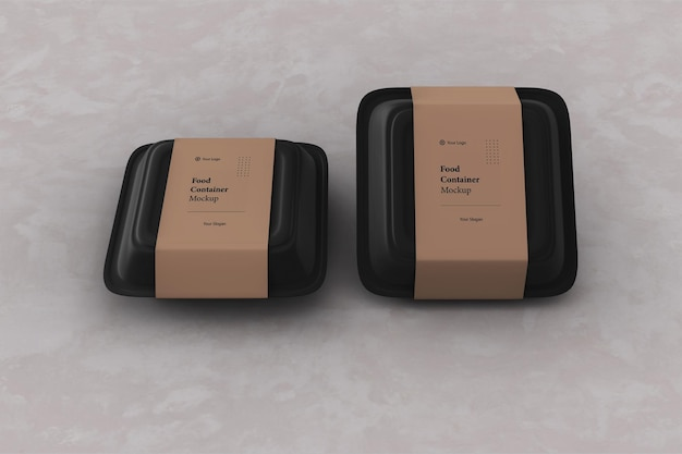 Due mockup di scatole di imballaggio per contenitori per alimenti da asporto