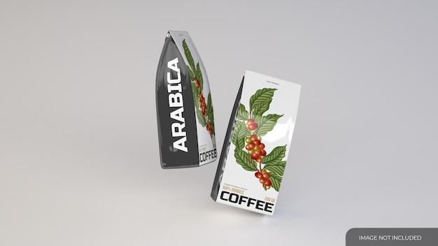 Mockup di due sacchetti di caffè sottili