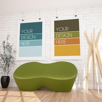 Due poster verticali appesi mockup in interni moderni
