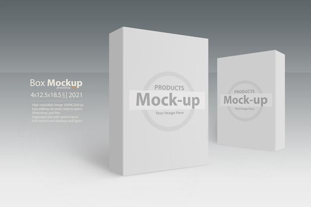 Due caselle bianche su serie di mockup modificabili con superficie grigia con livelli di oggetti intelligenti