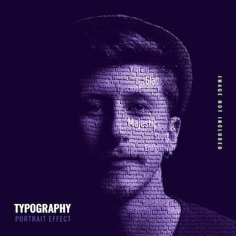 Modello di effetto foto ritratto tipografia