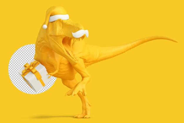 Tirannosauro babbo natale con confezione regalo. concetto di natale. illustrazione 3d