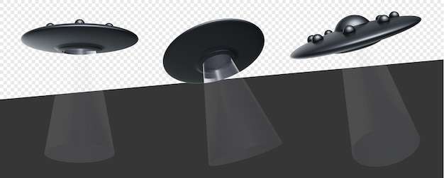 Mestiere alieno ufo con luci isolate