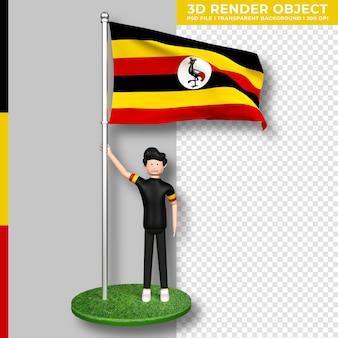 Bandiera dell'uganda con personaggio dei cartoni animati di persone carine. giorno dell'indipendenza. rendering 3d.