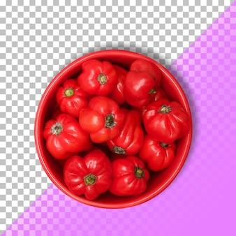 Pomodori brutti viaggio in una ciotola rossa su sfondo trasparente.psd