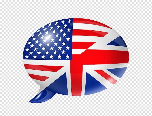 Bolla di discorso bandiere uk e usa