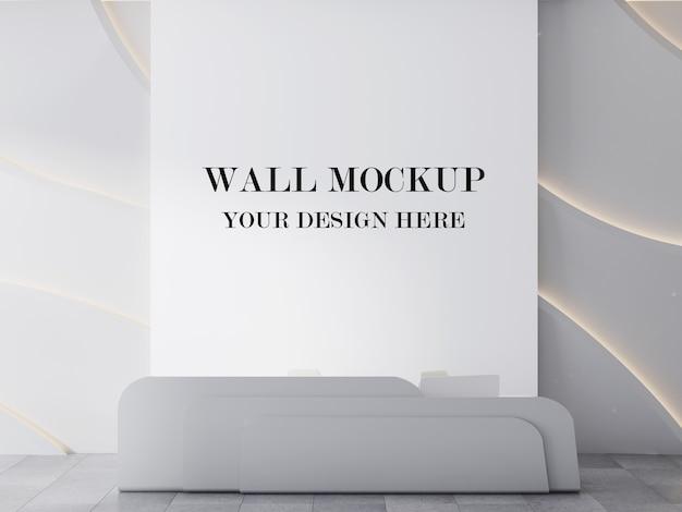 Mockup di rendering 3d sfondo parete area reception ultra moderna