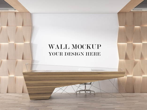 Rendering 3d di mockup di parete area reception ultra moderna