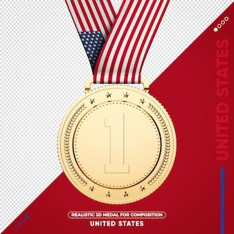 Medaglia d'oro degli stati uniti per la composizione Psd Premium