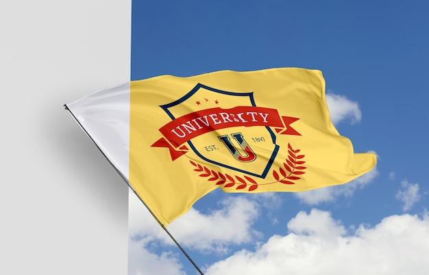 Modello di bandiera universitaria mock-up