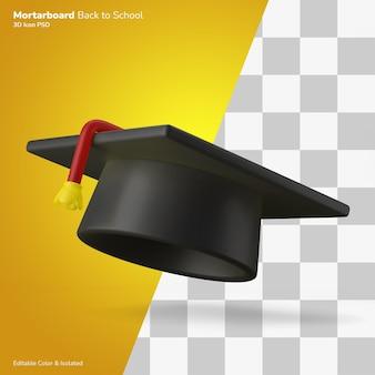 Graduazione universitaria tappo mortaio bordo icona 3d rendering modificabile isolato