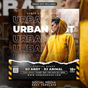 Modello di post sui social media e banner web per volantino festa club dj urbano