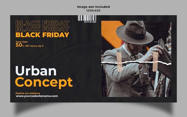 Banner pubblicitario web venerdì nero concetto urbano
