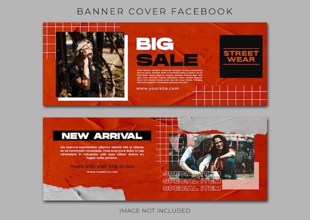 Modello di copertina facebook di moda urbana e banner web