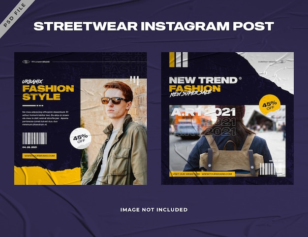 Modello di post instagram di moda urbana streetwear