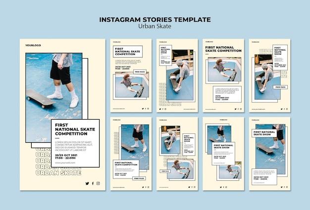 Modello di storie di instagram di concetto di skate urbano