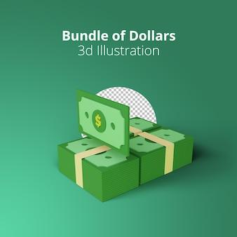Concetto di rendering 3d dell'illustrazione del pacchetto delle banconote del dollaro usa