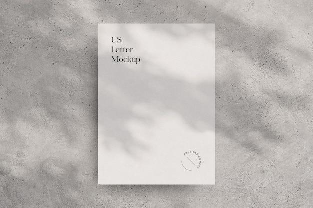 Modello di carta da lettere degli stati uniti con sovrapposizione di ombre