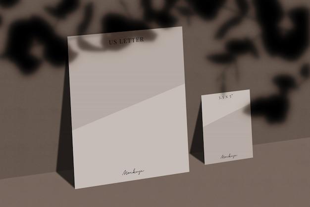 Mockup di carta da lettere usa con ombra sovrapposta