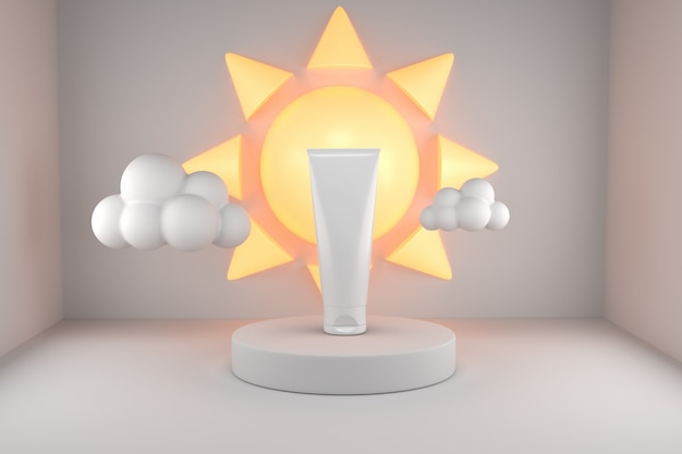 Prodotto per la protezione solare uv con il sole poduim