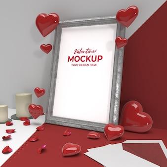 Cornice in ceramica con foto romantica di san valentino 3d con mockup di ornamento di cuore di posta di candela Psd Premium