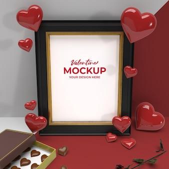 Valentine 3d photo frame romantico con fiore di cioccolato e mockup di ornamento del cuore