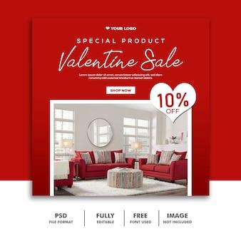 Rosso della mobilia di instagram di valentine banner social media post