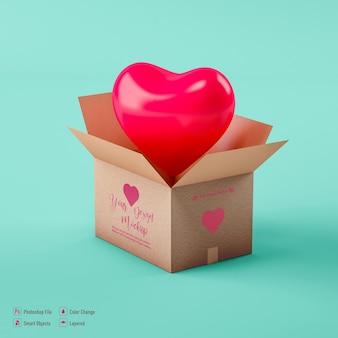 Mockup di scatola di cartone di san valentino isolato